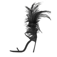 Moraima snc 2019 summer new stiletto heels fashion sexy sandals white feather shoes large size 43 women's shoes