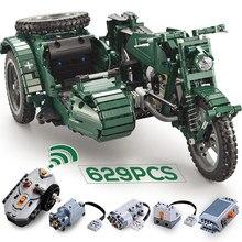 Пульт дистанционного управления строительные блоки мотоцикл США Военная армия RC модель legoings Совместимость кирпичи набор детские игрушки для детей мальчиков