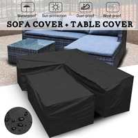 Waterproof Outdoor Patio Garden Furniture Covers L Shape Furniture Rain Snow Chair Covers for Sofa Table Chair Dust Proof Cover