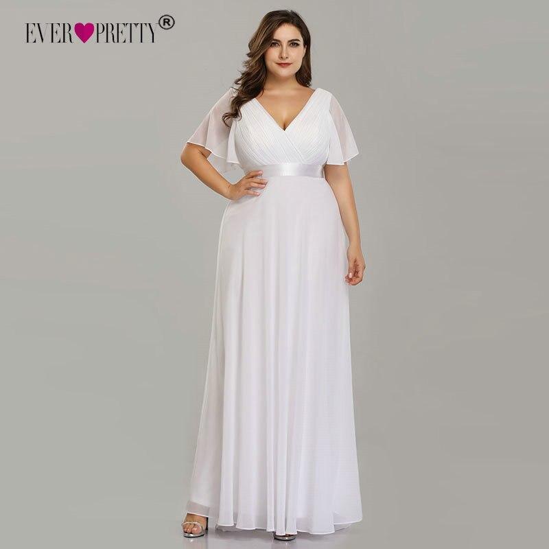 Image 4 - Plus Size Wedding Dress 2019 Ever Pretty Beach Simple A line Chiffon White Robe De Mariee Elegant V neck Vestido De Noiva-in Wedding Dresses from Weddings & Events
