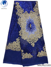 Beautifical blue mesh sequins laces tulle lace fabric nigerian 2018 high quality 5 yards/lot materials MX3N221
