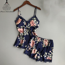 Pajamas For Women Sleep Pajama Sets Sexy Satin Sleepwear Pyjama Femme Women #8217 s Summer Home Wear With Chest Pad Sexy Pajama cheap Shorts Polyester Minoan Snake Goddess Sleeveless V-Neck Floral pajamas sleepwear Women s Sleeveless Summer Home Wear womens pajamas set