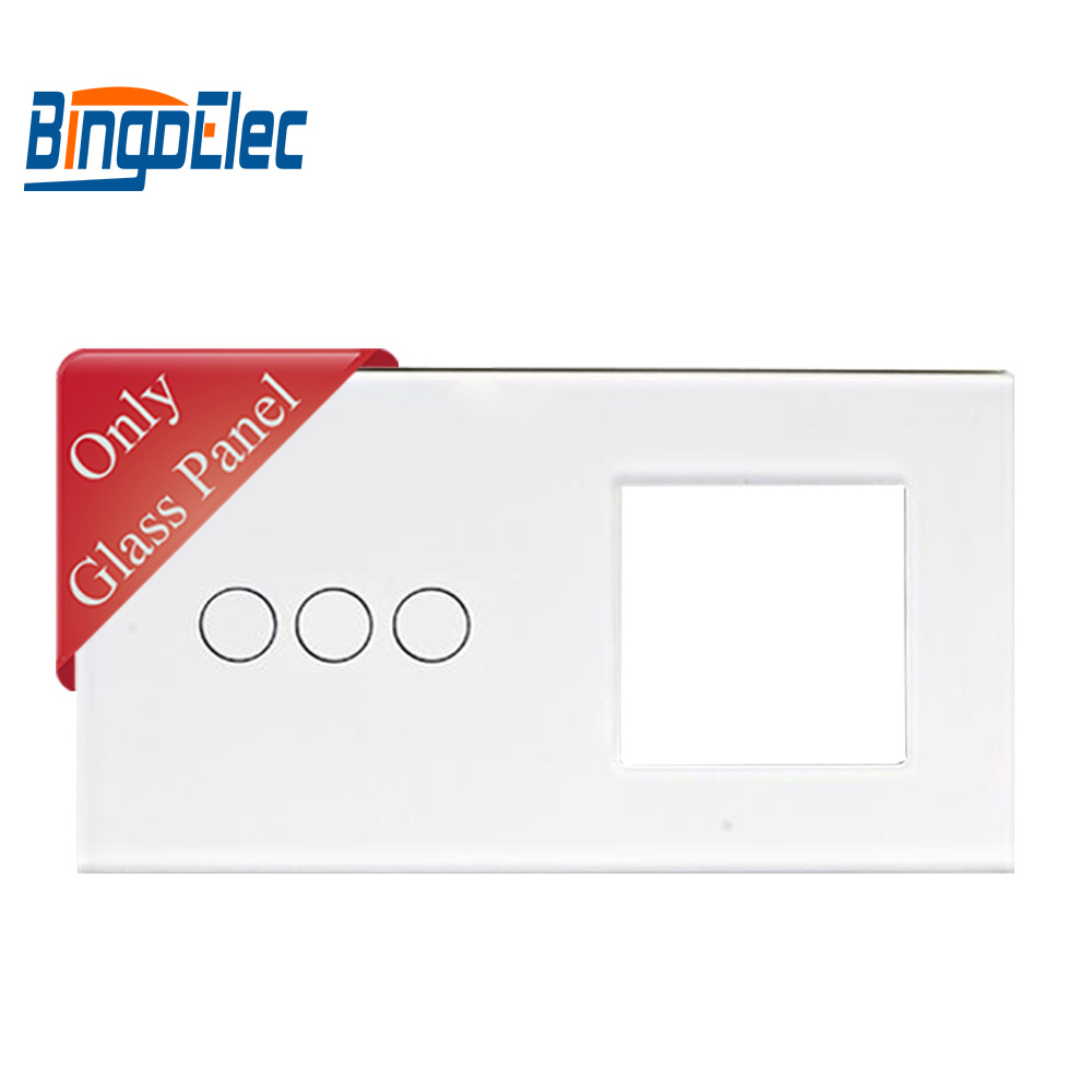 2fold EU standart DIY part 86*157mmToughened Glass 3button switch panel and one socket glass frame2fold EU standart DIY part 86*157mmToughened Glass 3button switch panel and one socket glass frame