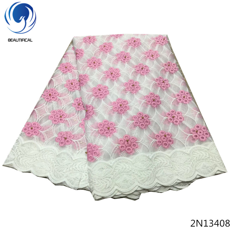 Beautifical dress lace fabric nigerian lace fabric cheap wholesale lace fabric 5yards pink color with gold beads for lady 2N134