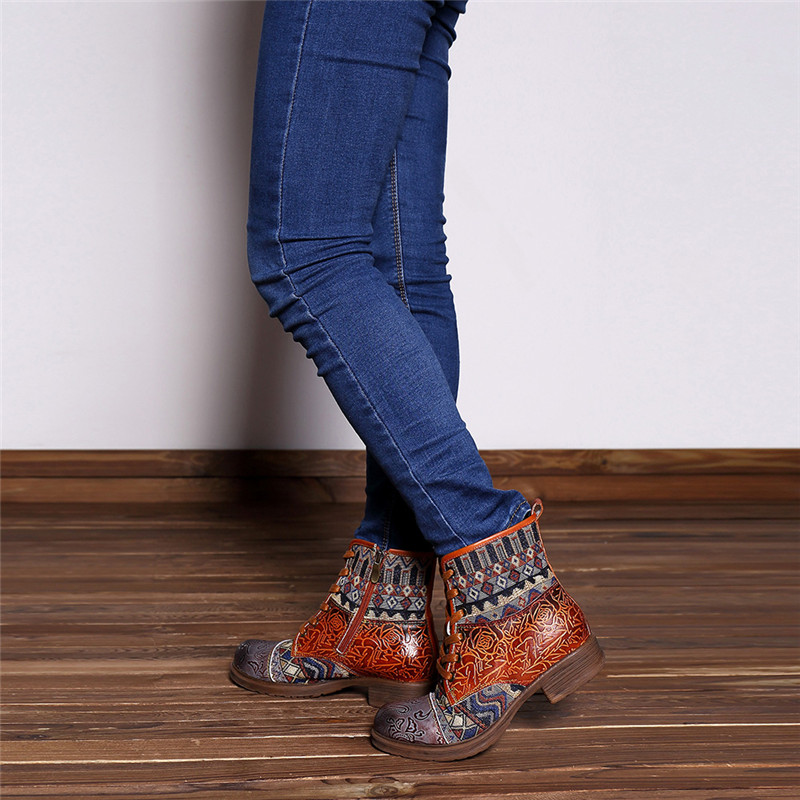 Women Bohemian Retro Leather Ankle Boots  4