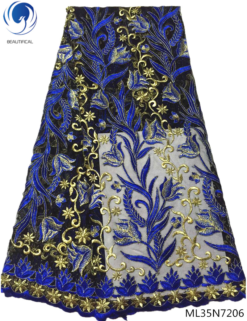 BEAUTIFICAL african lace fabrics high quality nigerian lace fabrics blue and gold embroidered lace fabric 5 yards/lot ML35N72BEAUTIFICAL african lace fabrics high quality nigerian lace fabrics blue and gold embroidered lace fabric 5 yards/lot ML35N72