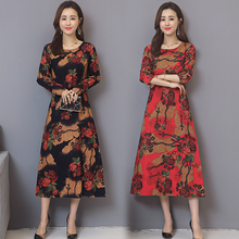 Women Cotton Linen Vintage Dress Casual Loose O-neck Floral Printed Mid-Calf Party Dresses Vestidos