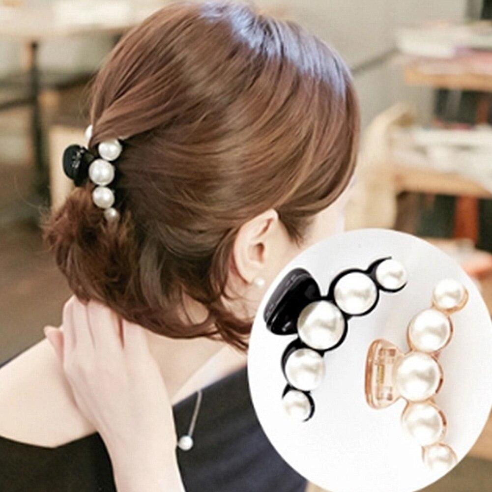 Fashion Women Hair Crab Hair Claws Imitation Pearl Lady Head Wear Accessories Hairpins Plastic Elastic Barrette Clip