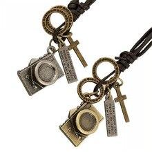 New Trendy Men Leather Pendant Necklace Vintage Punk Camera Charm Long Leather Chain Necklaces Female Male Jewelry Party Gift цена в Москве и Питере