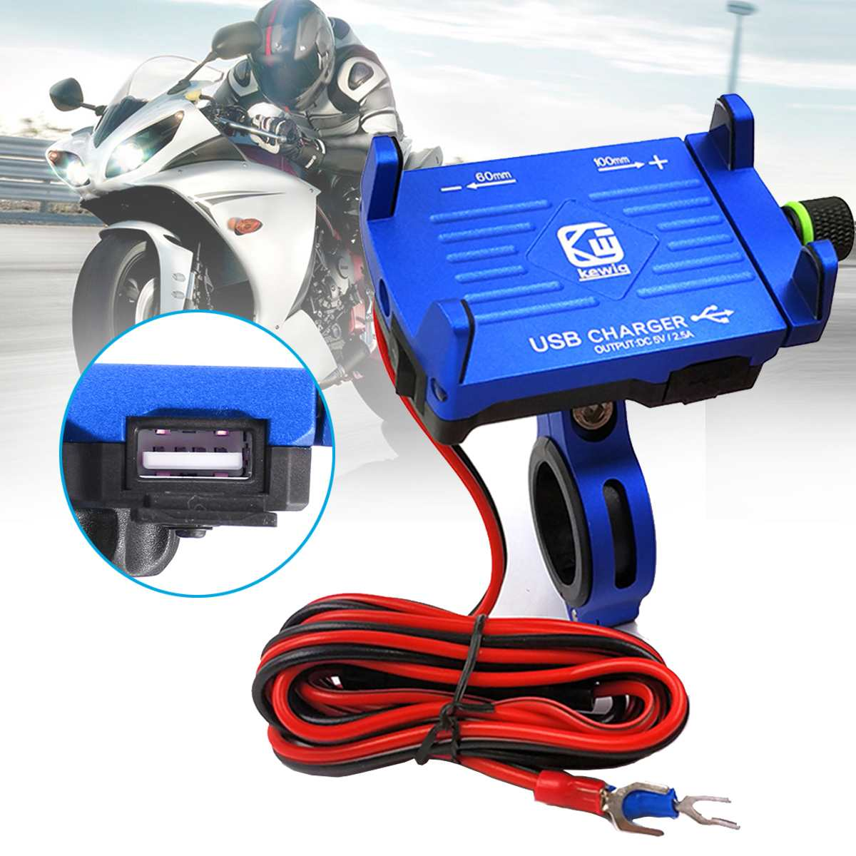 """INSMA for 3.5""""-6.2"""" Phone Motorcycle Holder USB Fast Charing Charger Holder Stand for Electric Motorbike Mountain Bike Holder"""