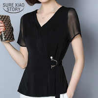 Vrouwen blouse en tops 2019 zwarte shirts blouses plus size vrouwen dames tops Lovertjes chiffon blouse Solid V-hals 2882 50