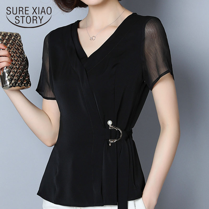 Women Blouse And Tops 2019 Black Shirts Blouses Plus Size Women  Ladies Tops  Sequined  Chiffon Blouse  Solid  V-Neck 2882 50
