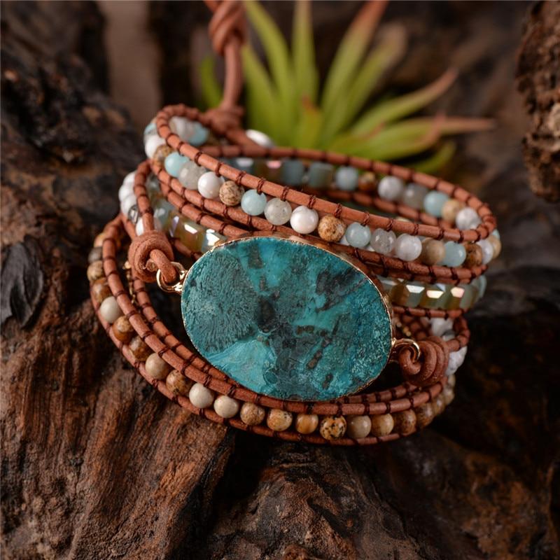 Natural Stone Leather Bracelet...