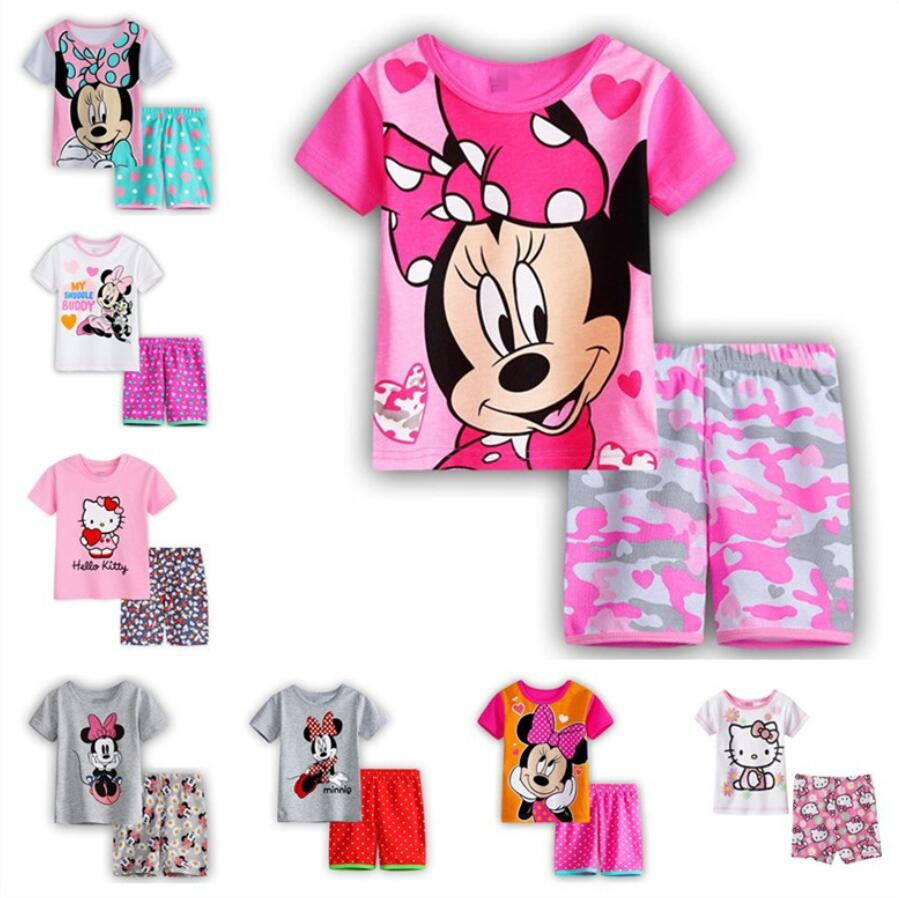 2 Pcs Cartoon Minnie Hallo Kitty Sommer Pyjamas Kurzarm Set Kinder Nachtwäsche T-shirt + Hosen Qw26