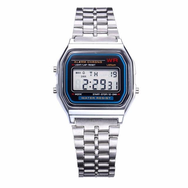 Fashion Silver Women Digital Watches Men LED Watch Stopwatch Alarm Alloy Man Wom