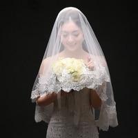 One Layer Bridal Wedding Veils Applique Edge Waltz Length 150cm Veil Ivory Brides Photography Veils Handmade