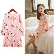 New Girls Princess Strawberry Pattern Nightgowns Summer Children's Clothing Children Long Sleeve Cartoon Nightdress Kids Cotton