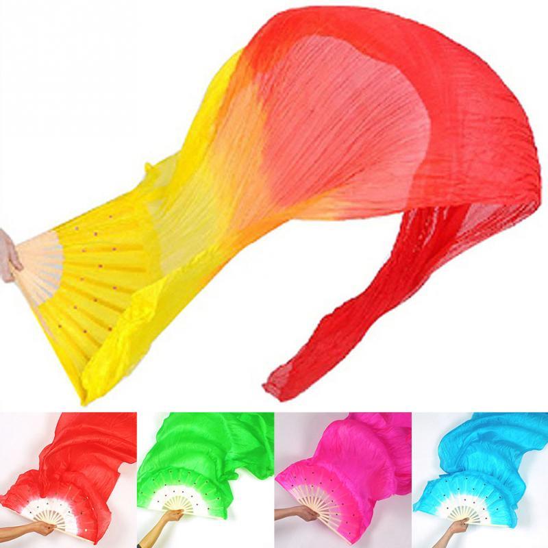 New Fan 1.8m Hand Made Colorful Belly Dance Women Costume Bamboo Long Silk Fans Veil Silk Fan