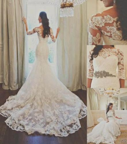 VAMOLASC Boat Neck Crystal Sash Lace Mermaid Wedding Dresses Illusion Appliques Sleeve Court Train Backless Bridal Gowns in Wedding Dresses from Weddings Events