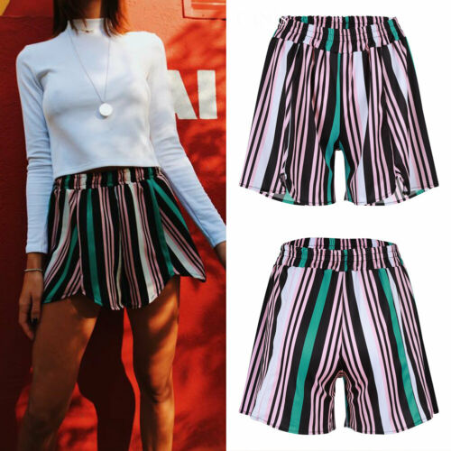 2019 Women Ladies Summer High Waist Shorts Casual Summer Holiday Beach Loose Shorts Stripe Shorts