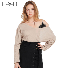 HYH HAOYIHUI Simple Sexy Commute Top Asymmetrical Strapless shoulder Lace Stitching Long Sleeve Sweatshirt