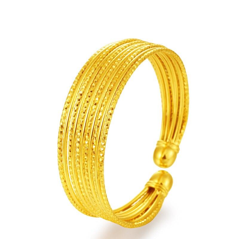 No Fade Vietnam Alluvial Gold Women Bangle fancy gold Cuff Bracelets designs Jewelry Birthday Gift fo Girl