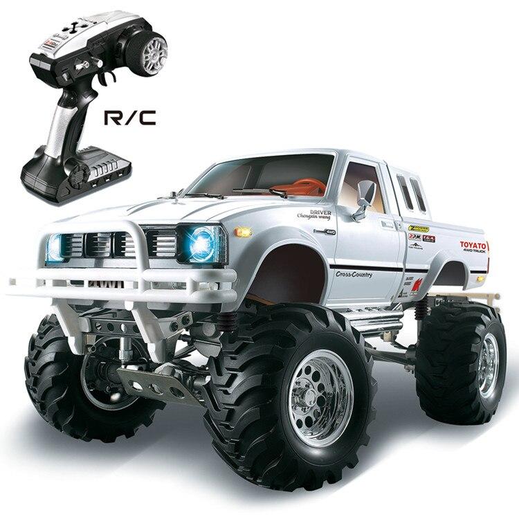 HG P407 1/10 2.4G 4WD 3CH แปรง Rally RC รถสำหรับ TOYATO โลหะ 4X4 รถกระบะรถบรรทุก ROCK crawler RTR ของเล่นสีดำสีขาวของขวัญเด็ก