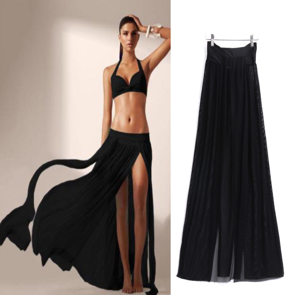 Women Swimwear Bikini Cover Up Beach Maxi Wrap Skirt Sarong Pareo