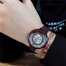 Korea Hot Style Quartz Watch for Women Delicate Fashion Rose Gold Diamond Dial Steel Mesh Magnet Strap Wrist Watch for Gift hot sale fashion geneva rose gold 4cm dial d brand style japan core nylon strap for men women unisex blue red pink