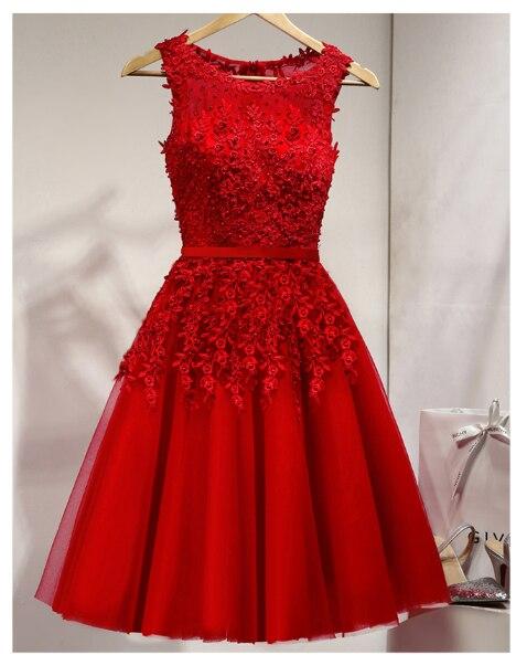 2019 vente chaude élégant genou longueur femmes filles robes Appliques perles robes de soirée formelles rose rouge bleu clair - 5