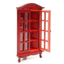 Miniature Figurines Furniture Wood Red Glass Cabinet Display Ornaments  Decoration Crafts Gifts For 1:12
