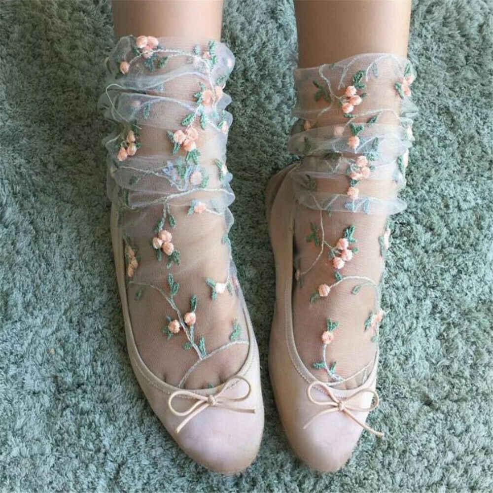 Yaz Ultra Ince Çiçek Nakış Örgü Çorap Bayan Tatlı Taze Örgü Çiçek Işlemeli Ince Ayak Bileği Çorap Çorap