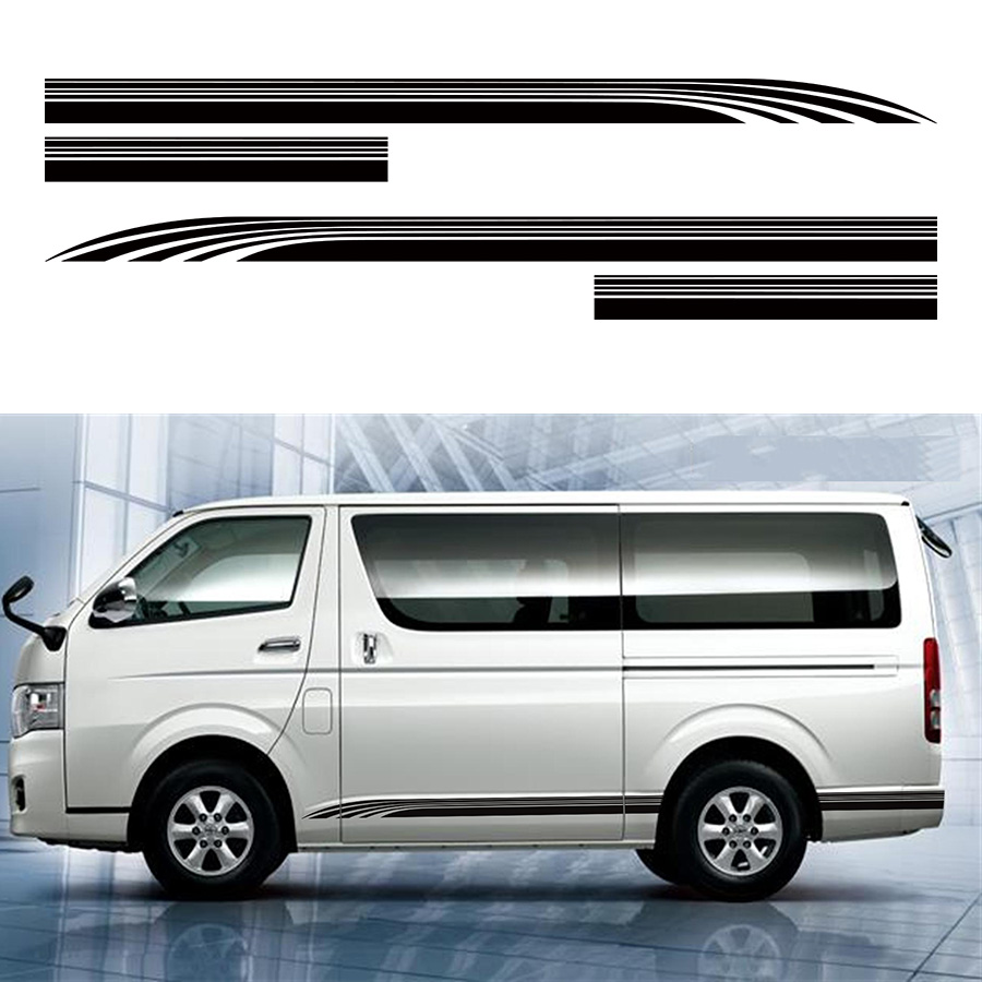 Voiture decal fraîche ligne côté porte bande graphique Vinyle autocollant de voiture pour hiace 2015 2016 2017
