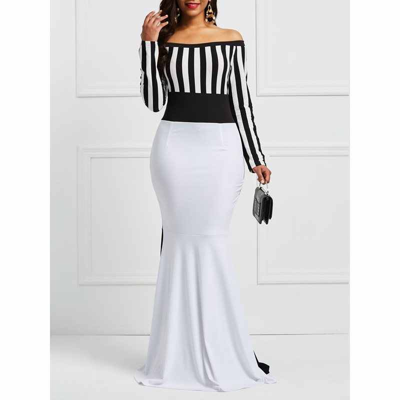 41a09bb45ac Maxi Sexy Dresses Elegant Women Off Shoulder Long Sleeve Stripes Color  Block White Black Bodycon Mermaid