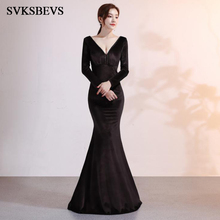 SVKSBEVS Beading Sexy Deep V Neck Velvet Mermaid Long Dresses Elegant Party Sleeve Sequined Backless Maxi Dress