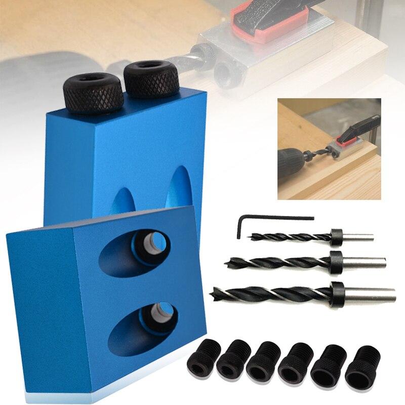 Mini Holz Tasche Loch Schraube Jig Kit mit Dübel Puncher Locator Jig Bohrer für Holz Arbeits Zubehör