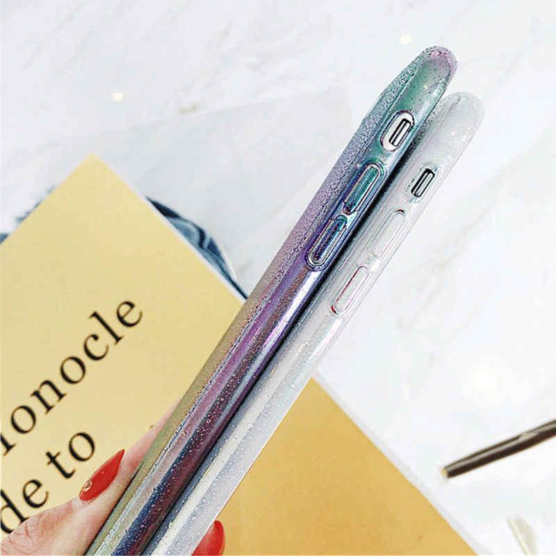 Laser brillant Goutte D'eau Dégradé Téléphone étui pour iphone X XS XR XS Max 8 7 6 6 S Plus Coloré Arc-En-Ciel Couverture Arrière Cas Couque