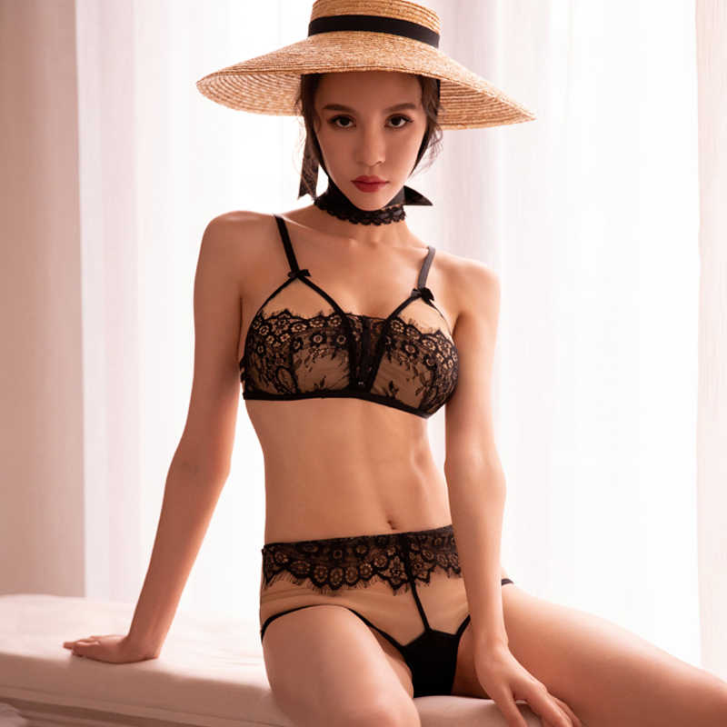 5cfb9b2fd8b Embroidery Floral Lace Deep V Push Up Bra and Thong 2PCS Sets See Through  Underwear Lingerie