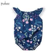 Pudcoco/Новинка; брендовый кружевной комбинезон с цветочным принтом для маленьких девочек; комбинезон; Sunsuit