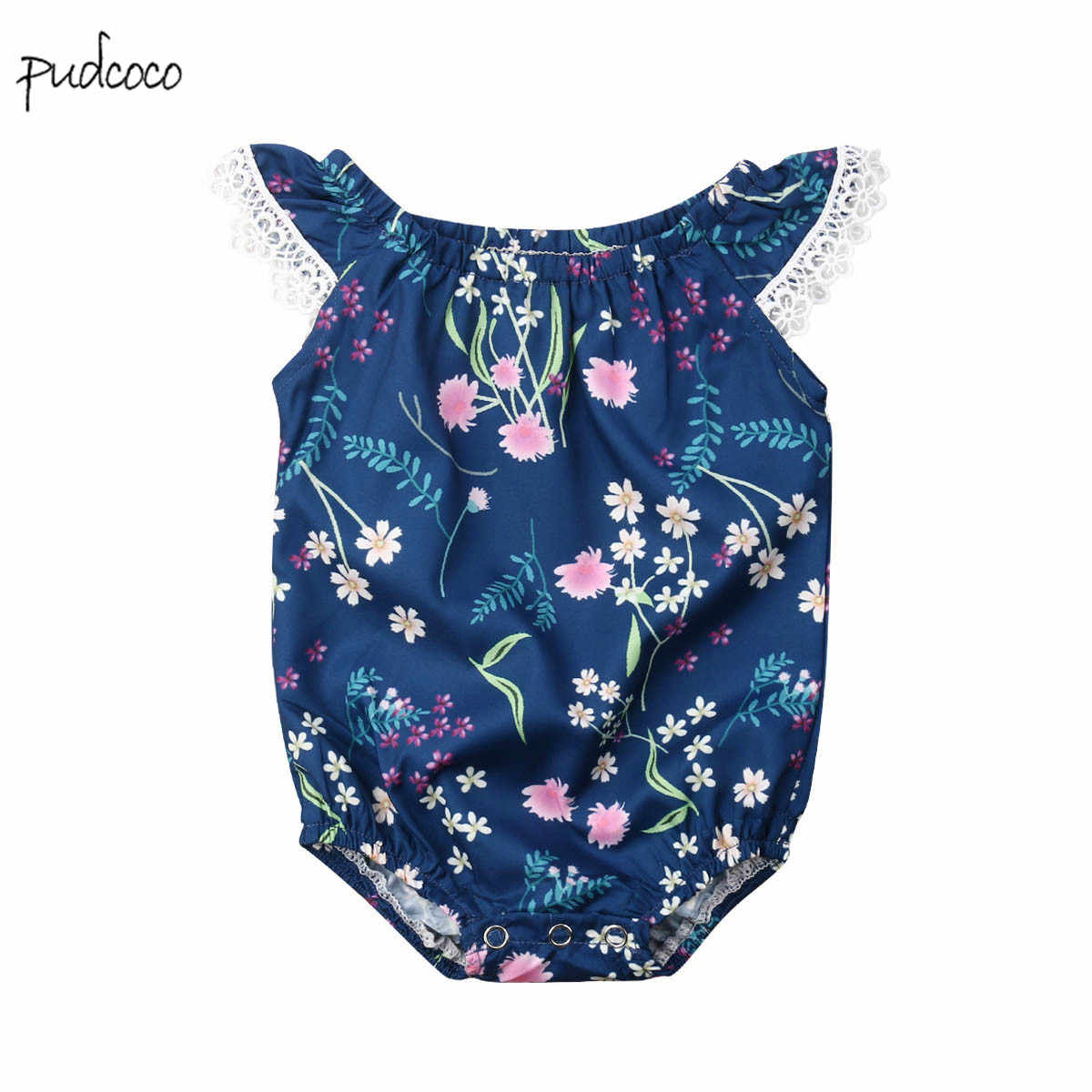 Pudcoco New Brand Toddler Baby Girls Lace Floral  Bodysuit Jumpsuit Outfits  Sunsuit