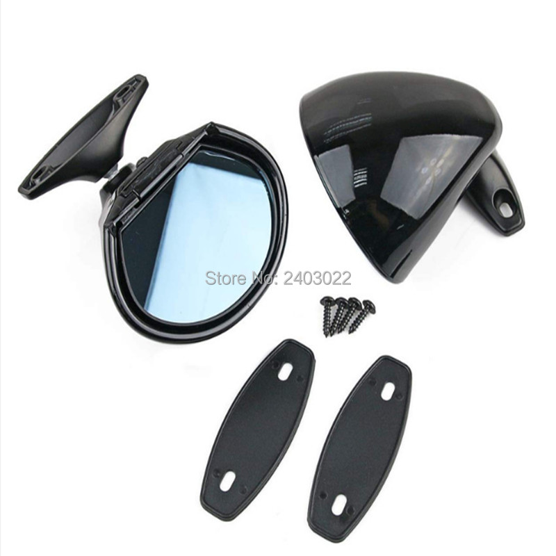 2Pcs Racing Classic Retro Door Wing Side Mirror Hot Rod Universal Fit Vintage Black Parts