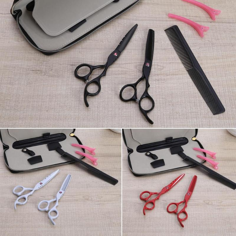 2 pcs 6 Inch Hair Trimmer Thinning Cutting Scissors Multi-function Profession Salon Cutting with Hair comb Clips Scissors Bag