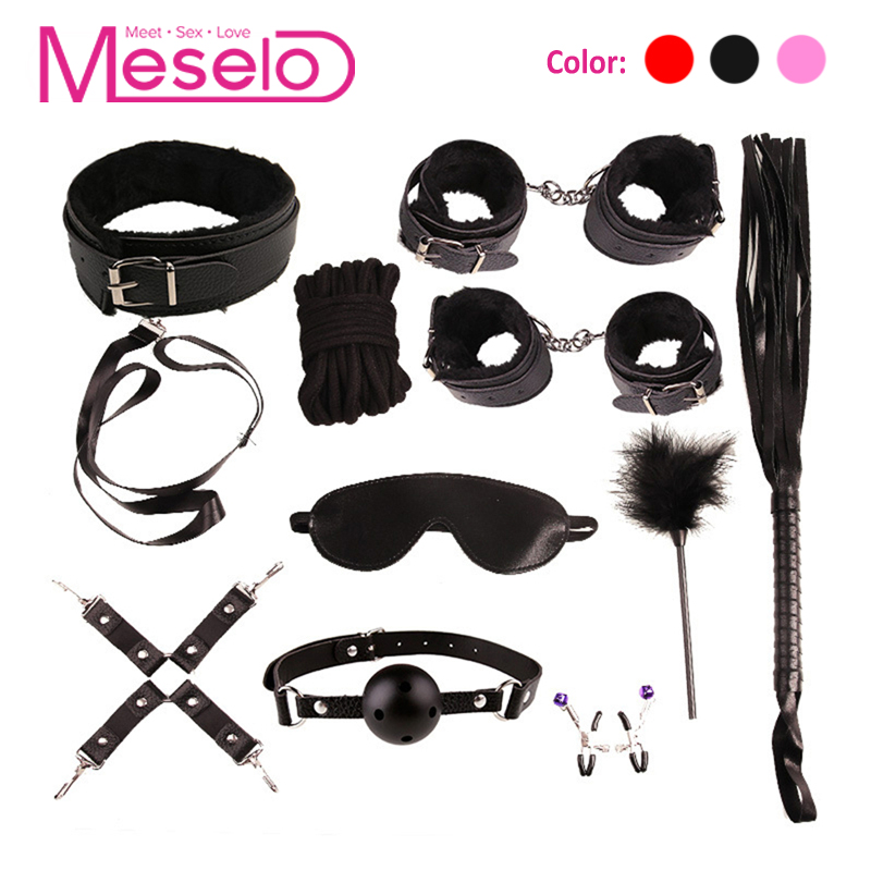 Meselo 10 pcs/set Bdsm <font><b>Sex</b></font> Bondage Set PU Leather / Plush <font><b>Hand</b></font> Cuffs Footcuff <font><b>Whip</b></font> Rope Blindfold Erotic <font><b>Sex</b></font> Toys For Couples image