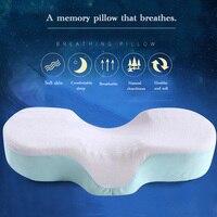 Látex ortopédico curva ergonómica melhorar almofadas de dormir espuma memória recuperação lenta travesseiro côncavo encosto de cabeça pescoço apoio