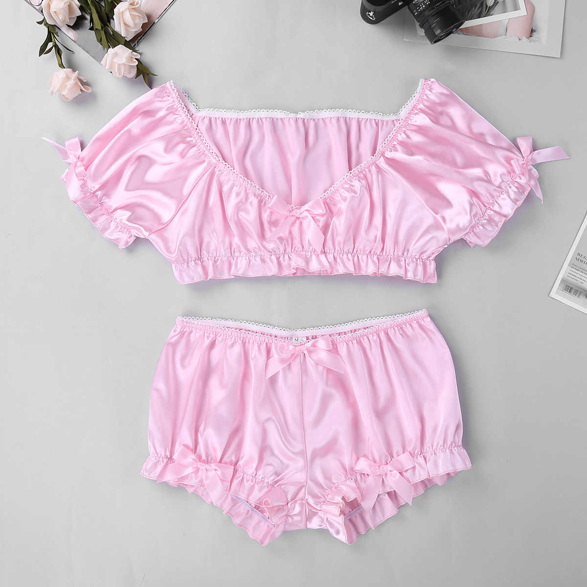 fd715150a Sissy Smooth Soft Satin Two Piece Swimsuit Mens Bow Lingerie Set Crop Top  with Bloomers Boxer