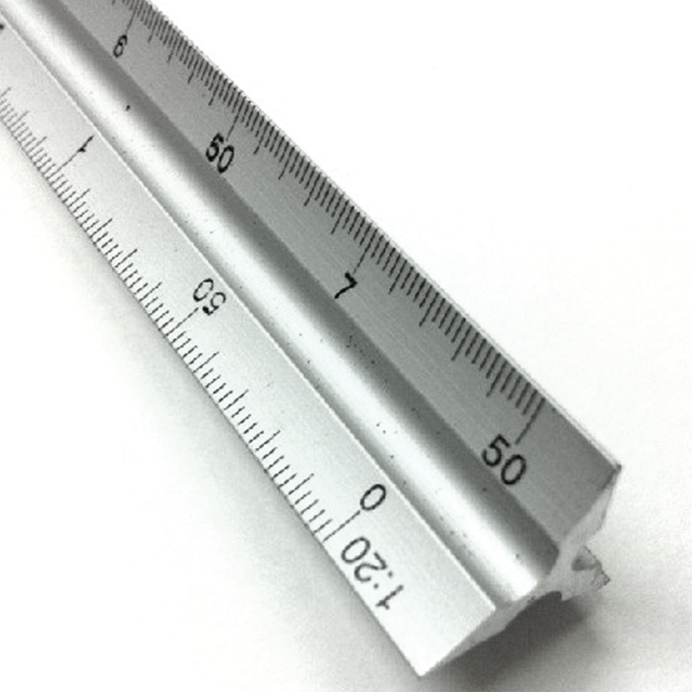 30cm Architect Engineer Technical Triangle Scale Ruler Aluminum Alloy Accurate Silver Ruler