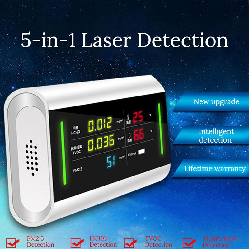 New Wholesale 5-in-1 Indoor Pm2.5 Hcho Tvoc Detector Usb Charging 6 Megapixel Led Screen Air Monitor Dropshipping Analyzers Gas Analyzers