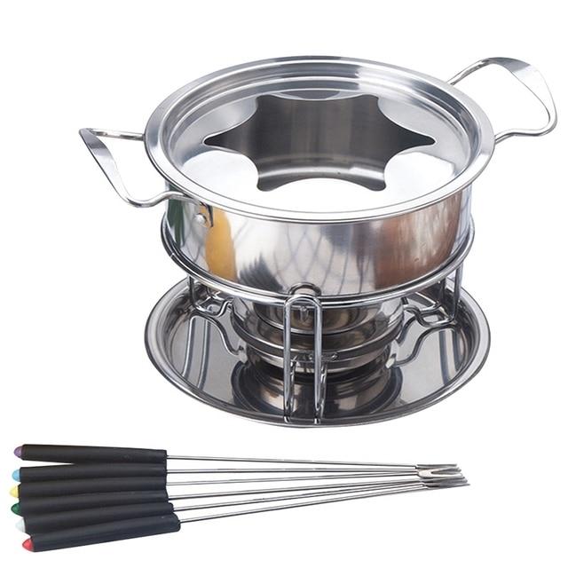 10-Piece Set Multifunctional Stainless Steel Ice Cream Chocolate Cheese Hot Pot Melting Pot Fondue Set Kitchen Accessories