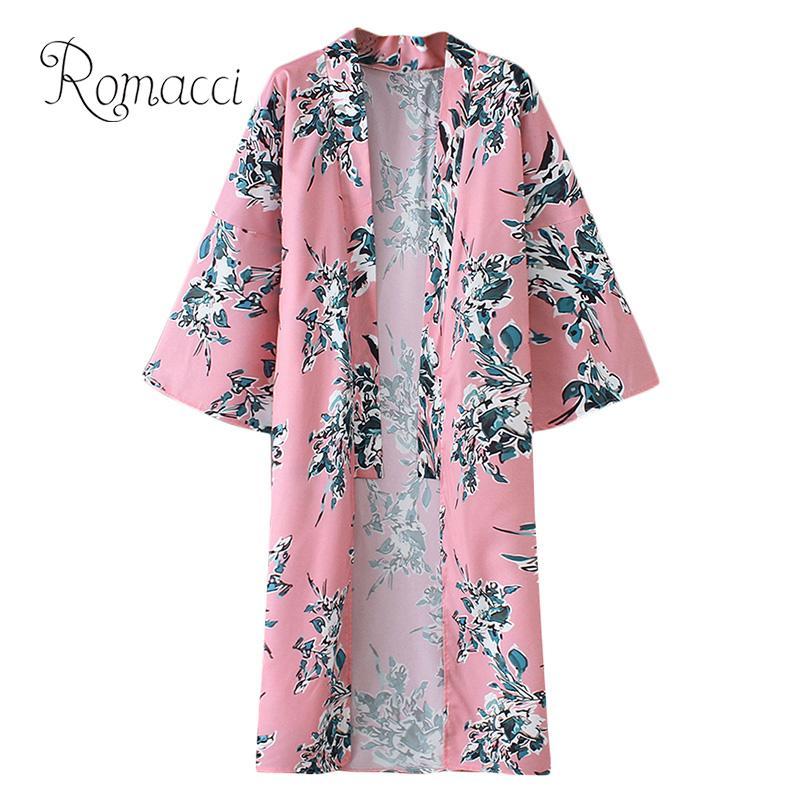 Special Section Romacci Boho Vintage Pink Floral Print Kimono Women Bohemian V Neck 3/4 Sleeve Chiffon Cardigan Ladies Boho Blouse Casual Blusas Consumers First Women's Clothing