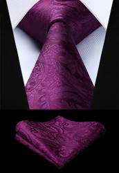 Мужской галстук сплетенные шелковый галстук вечерние свадебные классические модные платок галстук новый Пейсли фиолетовый цвет набор